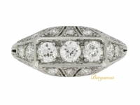 front view Tiffany & Co. diamond three stone cluster ring, circa 1925.