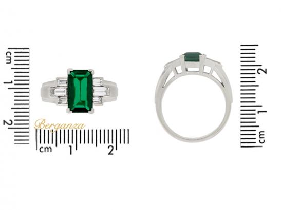 size view Gubelin Colombian emerald and diamond ring, circa 1943.