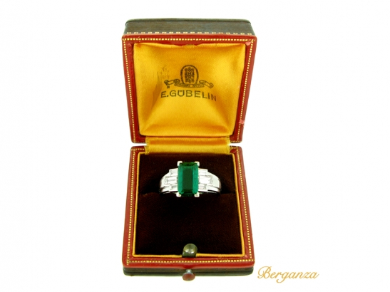 boxed view Gubelin Colombian emerald and diamond ring, circa 1943.