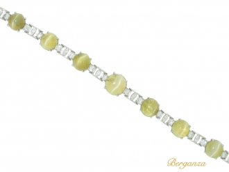 front view J.E. Caldwell chrysoberyl cat's eye and diamond bracelet