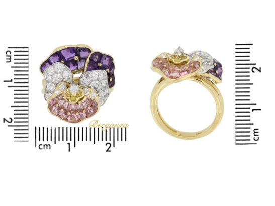 size view Oscar Heyman Brothers pansy ring