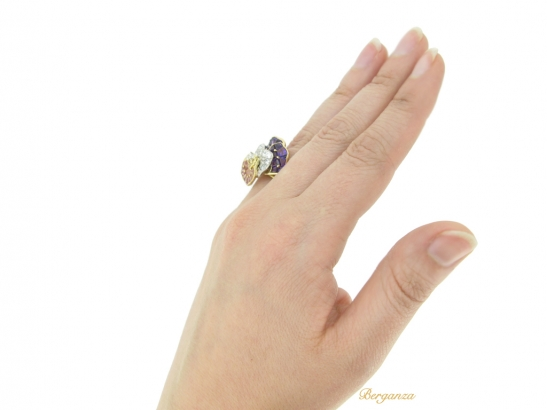 hand view Oscar Heyman Brothers pansy ring