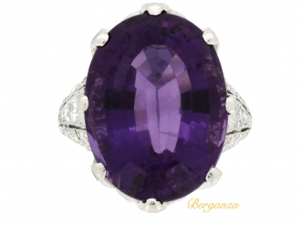 front view Solitaire amethyst and diamond set dress ring