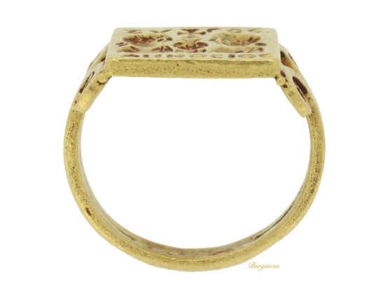 back view Early Byzantine gold marriage ring, circa 4th century AD. berganza hatton garden
