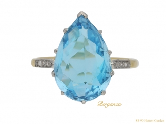 front view vintage aquaremarine diamond ring berganza hatton garden