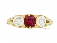 front view Antique Tiffany & Co. ruby and diamond three stone ring