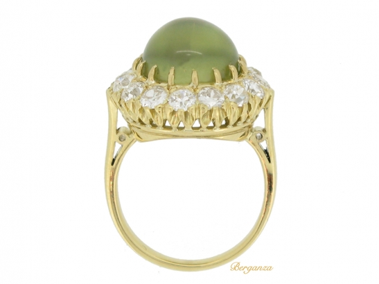 back view Antique cat's eye chrysoberyl and diamond cluster ring