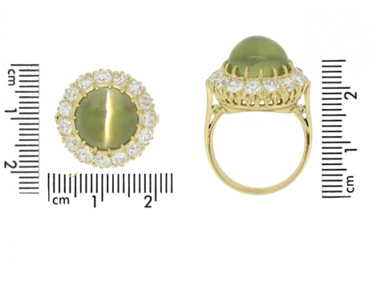 size view Antique cat's eye chrysoberyl and diamond cluster ring