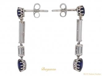 Art Deco Burmese sapphire diamond earrings berganza hatton garden