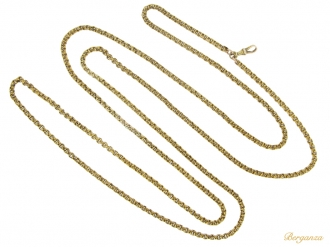 front  Victorian long guard chain, circa 1870.