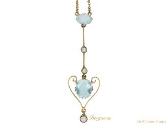 front antique pearl aquamarine pendant hatton garden berganza