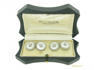 front view Antique diamond and mother of pearl cufflinks by Groene & Darde, French, circa 1910.