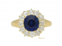 front view Sapphire and diamond cluster engagement ring by Tiffany & Co, circa 1900.