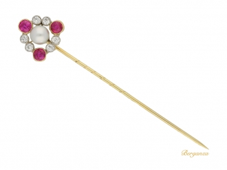front view Antique natural pearl, ruby and diamond pin, circa 1905.