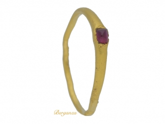 front view Medieval amethyst Bishop's stirrup ring, circa 13th century.