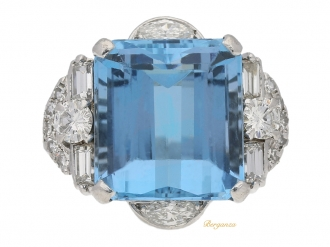front view aquamarine diamond ring Alabaster Wilson berganza hatton garden