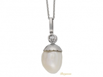 front view Antique natural pearl and diamond pendant, circa 1905. berganza hatton garden