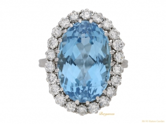 front view Aquamarine and diamond coronet cluster ring circa 1960 berganza hatton garden