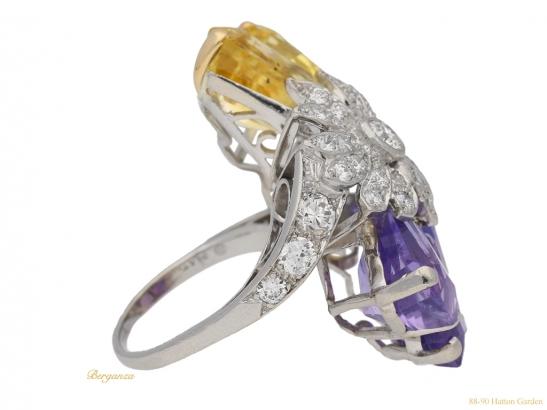 side view Yellow and purple sapphire and diamond ring by Oscar Heyman Bros, circa 1960 berganza hatton garden