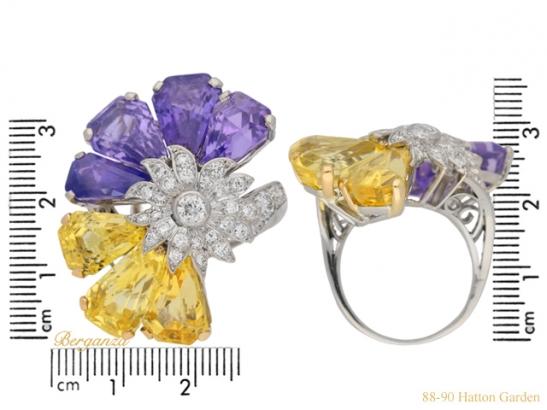 size view Yellow and purple sapphire and diamond ring by Oscar Heyman Bros, circa 1960 berganza hatton garden