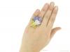 hand view Yellow and purple sapphire and diamond ring by Oscar Heyman Bros, circa 1960 berganza hatton garden