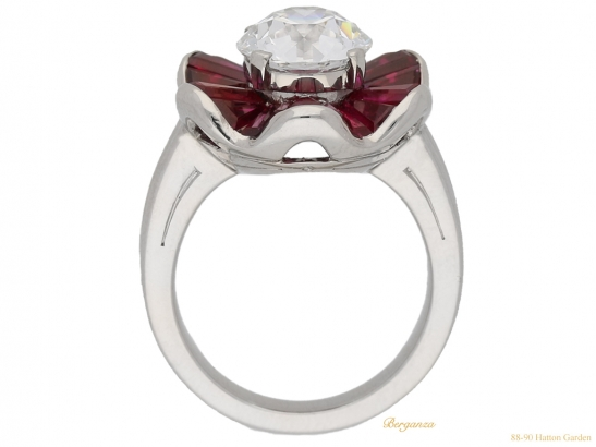 back view Diamond and ruby cluster ring by Oscar Heyman Brothers, circa 1970. berganza hatton garden