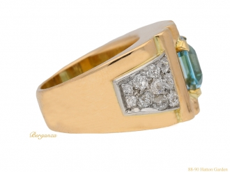 front view  Aquamarine and diamond cocktail ring, circa 1940. berganza hatton garden