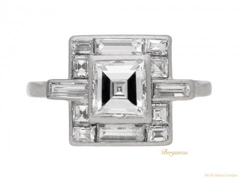 front view Art Deco diamond ring, circa 1930. berganza hatton garden