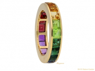 front view vintage rainbow gemset ring berganza hatton garden