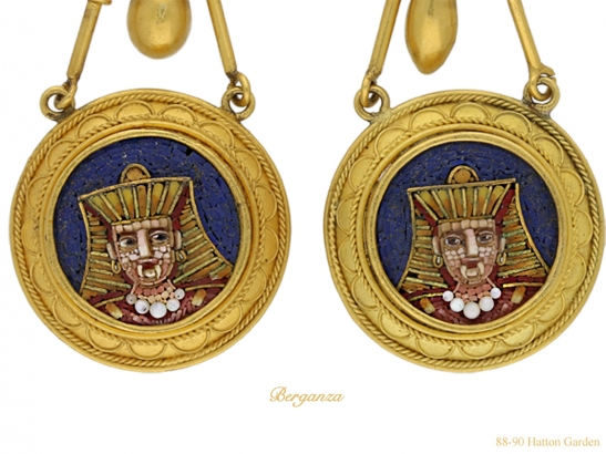 close up view Egyptian Revival micro mosaic earrings berganza hatton garden
