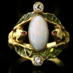 Art Nouveau opal, ruby and diamond ring, French, circa 1900.