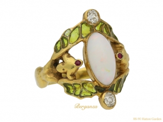 front view Art Nouveau opal ruby diamond ring berganza hatton garden