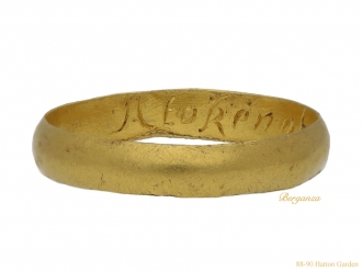front view antique Gold posy ring berganza hatton garden