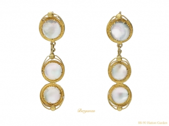 front view Victorian moonstone earrings necklace berganza hatton garden