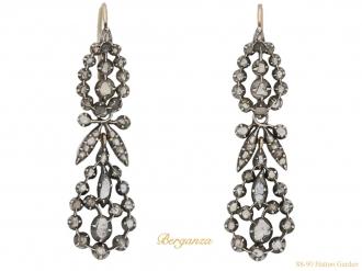 front view Victorian rose cut diamond drop earrings berganza hatton garden