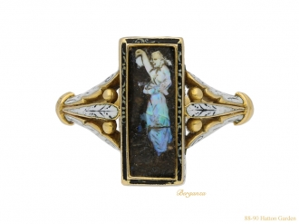 front view Carved opal ring Wilhelm Schmidt Guiliano berganza hatton garden