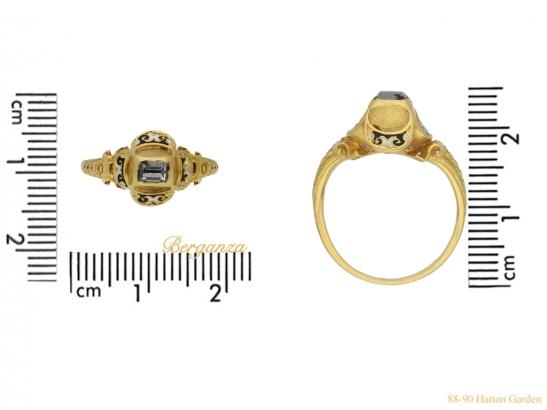 size view Tudor table cut diamond ring berganza hatton garden