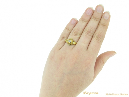 hand view Tudor table cut diamond ring berganza hatton garden