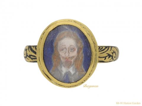 front view Charles I memorial skull ring English berganza hatton garden