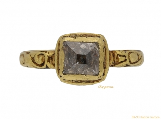 front view Tudor table cut diamond ring berganza hatton garden