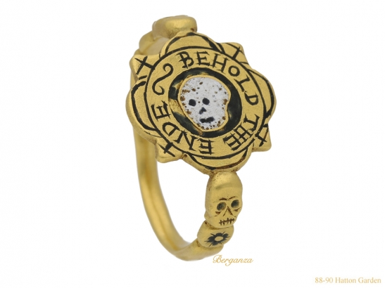side view tudor skull enamelled ring hatton garden berganza