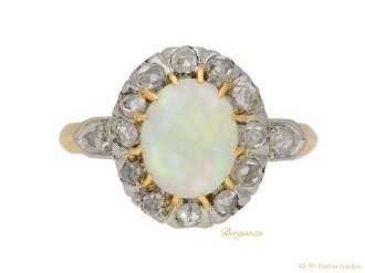 front view Victorian opal diamond ring berganza hatton garden