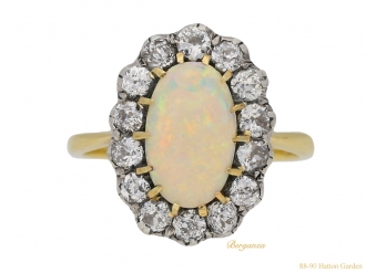 front view Antique opal diamond ring berganza hatton garden