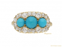 front view Antique Tiffany turquoise diamond ring berganza hatton garden