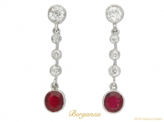 Burmese ruby and diamond drop earrings berganza hatton garden