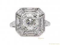 front view Art Deco asscher cut diamond ring berganza hatton garden