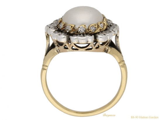 back pearl diamond floral cluster ring berganza hatton garden