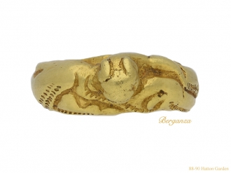 front view ancient norman gold lion ring berganza hatton garden