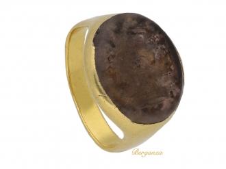 front view Renaissance gold signet ring berganza hatton garden