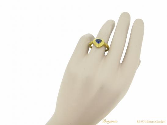 hand view Medieval sapphire ring berganza hatton garden